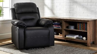 AmazonBasics Classic Leather-Like Extra Padded Recliner Chair